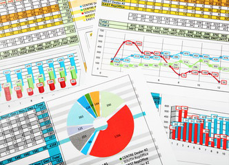business charts printed in color