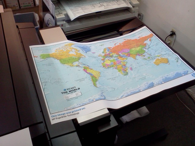 Pagewide 5000xl printing a map of the world