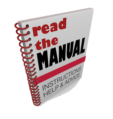A spiral bound user manual printed in color